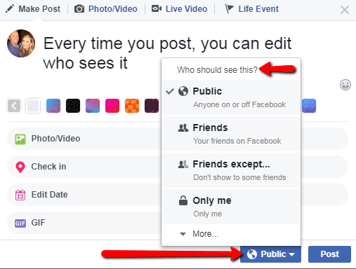Privacy settings of your posts